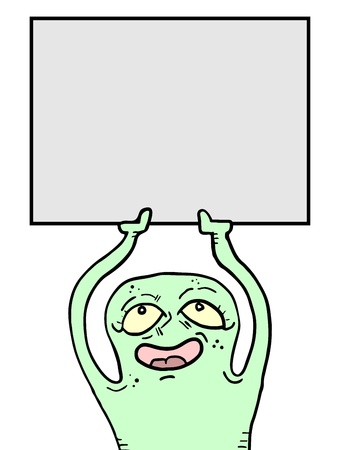 Funny monster with blank screen Stock Vector - 15005827