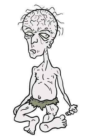 bald ugly: Cartoon old man drawing Illustration