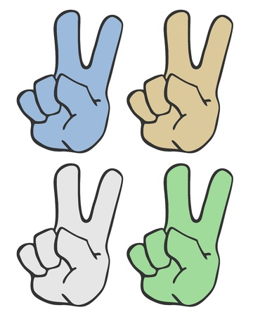 Four color hands Vector