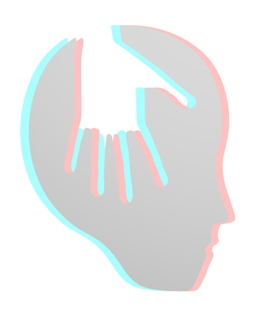 dimensinal: Hand brain face Illustration