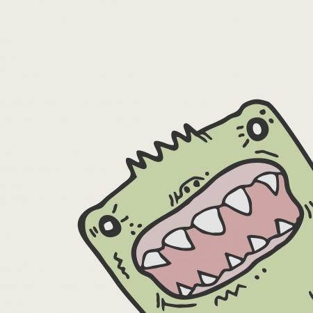 anger kid: Cartoon funny face Illustration