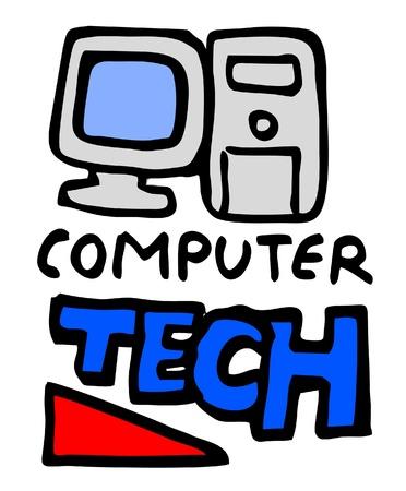 modernity: Cartoon computer tech Illustration