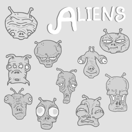 Faces alien collection Vector