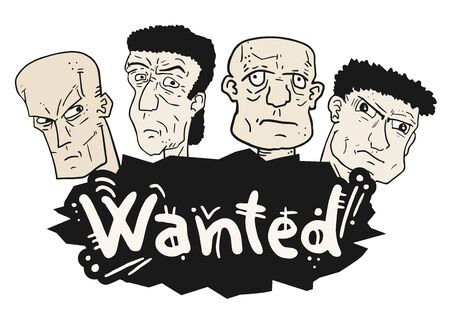 western theme: Four wanted faces Illustration