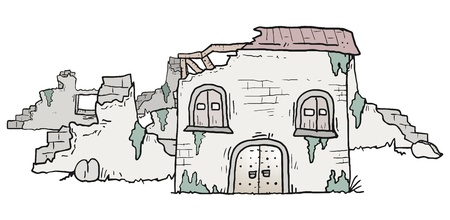 abandoned: Ruins house Illustration