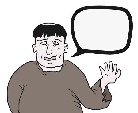 talkative: Hello cartoon man talking comic