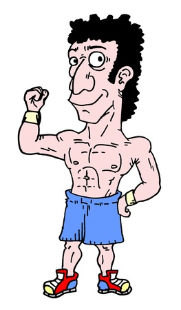 tough man: Muscle cartoon man Illustration