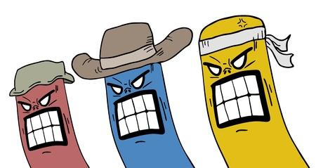 outlaws: Rebel color puppets Illustration