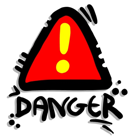 dangerous construction: Danger alarm sign Illustration