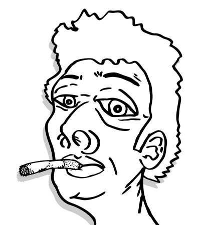 Smoking face Vector