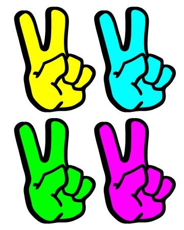 Color hands win Stock Vector - 15885086