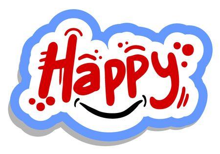 Smile happy sticker Stock Vector - 15885014