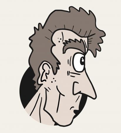 wrinkled face: Looking cartoon man