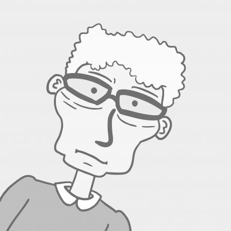 wrinkled face: Glasses man expression