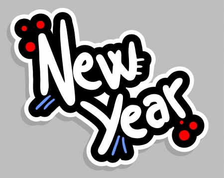 New year sticker Illustration