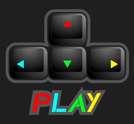 pushbutton: Color arrow play keys Illustration