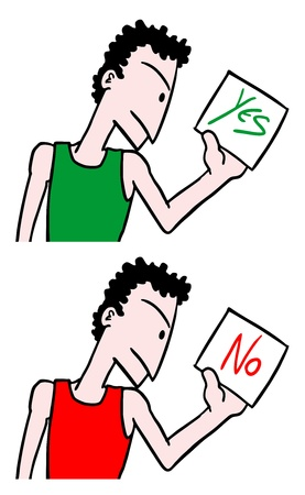 Yes and no card message Vector
