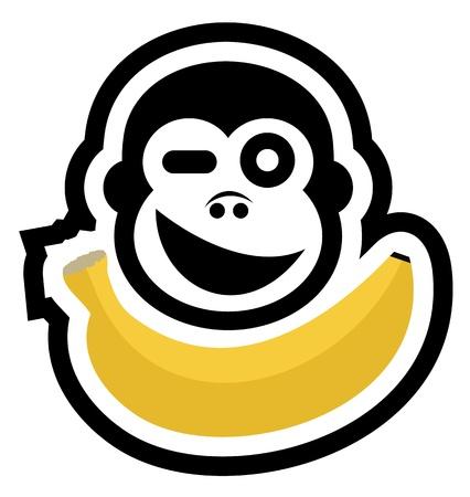 comiendo platano: Gorila hambriento