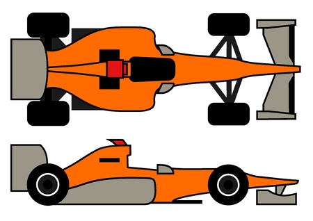 modernity: Orange racing car Illustration