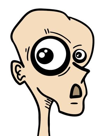 bald ugly: Funny eye draw Illustration