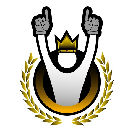 king crown laurel icon round: Win puppet icon
