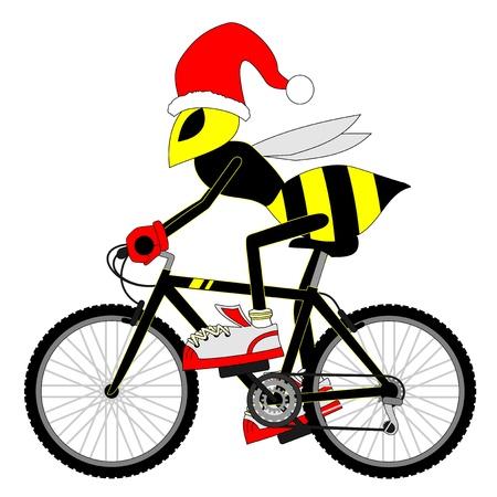biking glove: Cycling sport bike Christmas Illustration