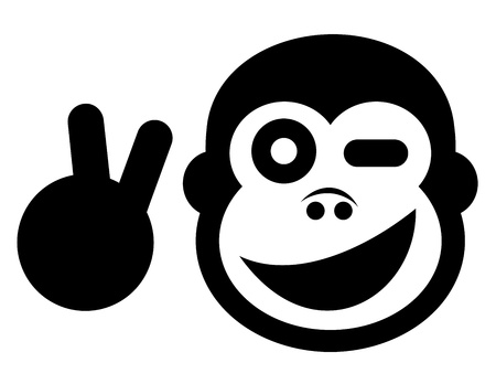 cartoon monkey: Happy gorilla Illustration