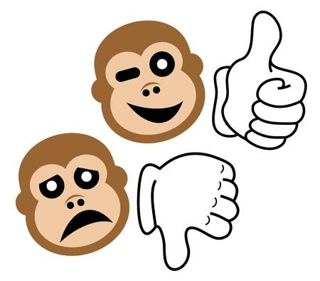 Like and dislike gorilla Stock Vector - 16974272