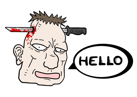 liquidate: Hello blood face Illustration