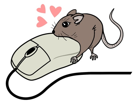 omnivorous: Funny computer mouse draw Illustration