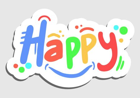happy face: Color happy sticker
