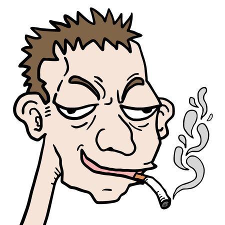 Smoke cartoon face Stock Vector - 17346085