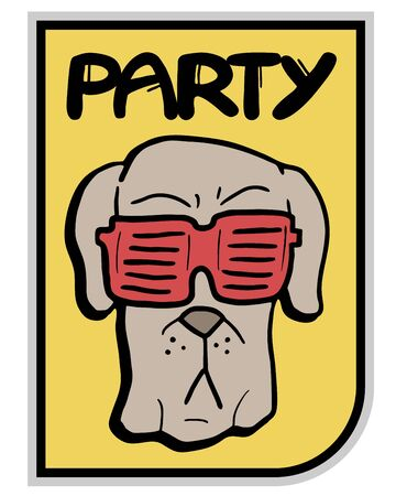 Glasses party dog Vector