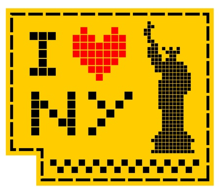 Pixel love New York Vector