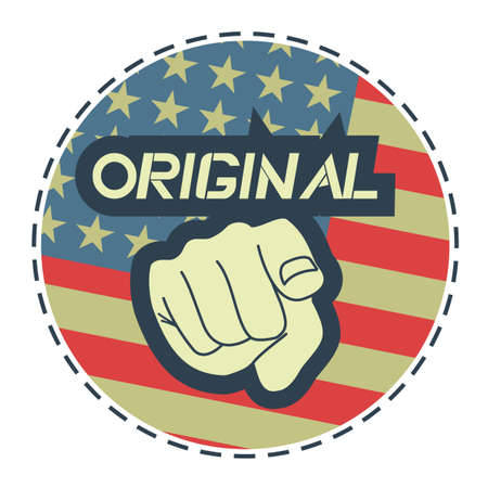 Original United States hand point sticker Stock Vector - 17346029
