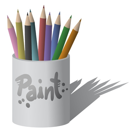 Color paint pencils Vector