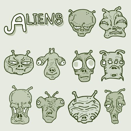 Many alien faces Vector