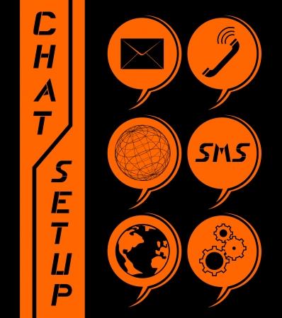 transferred: Chat tech icon Illustration