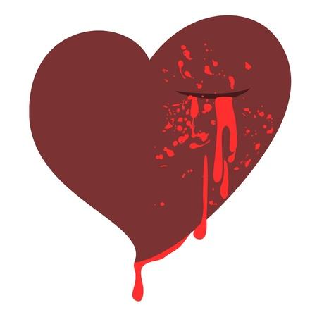 blood draw: Blood heart draw Illustration