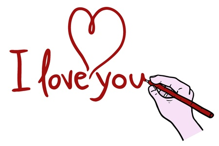 I love you drawing Stock Vector - 17701134