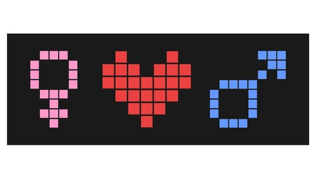 predilection: Pixel love symbol Illustration