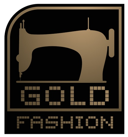 sew label: Gold fashion emblem Illustration