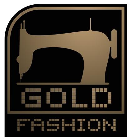 maquina de coser: Oro emblema de la moda