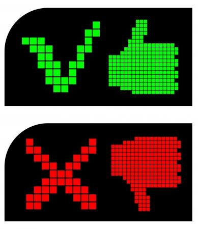 Like and dislike pixel symbols Vector