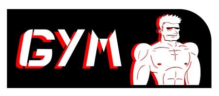 Gym strong man symbol Stock Vector - 18215599