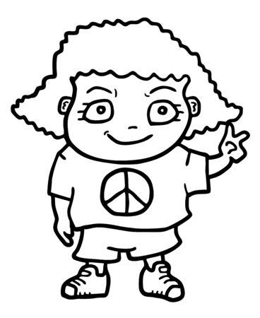 Peace girl Stock Vector - 18215600