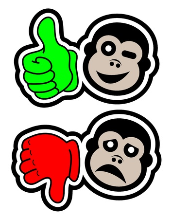 Like and dislike gorilla icons Stock Vector - 18292765