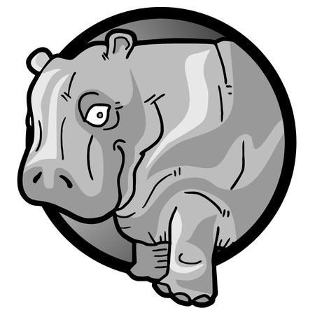 balck and white: Hippo icon