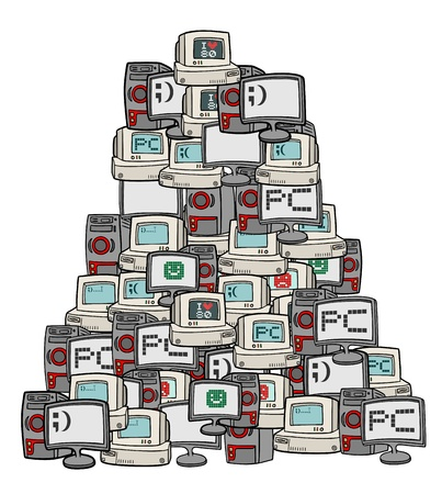 old pc: Mountain retro computer Illustration