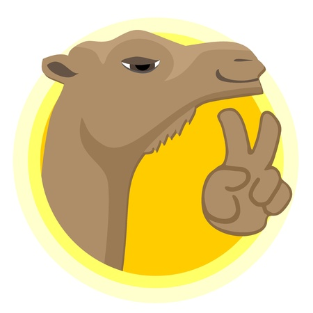 cartoon camel: Happy camel icon